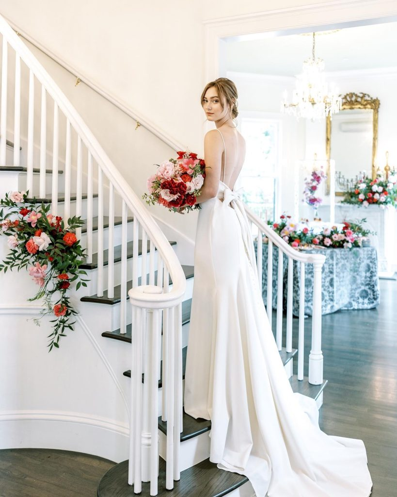 """From planners Erica + Kristin with kristincatterevents: """"We really wanted to merge the traditional bride with a modern twist of"""
